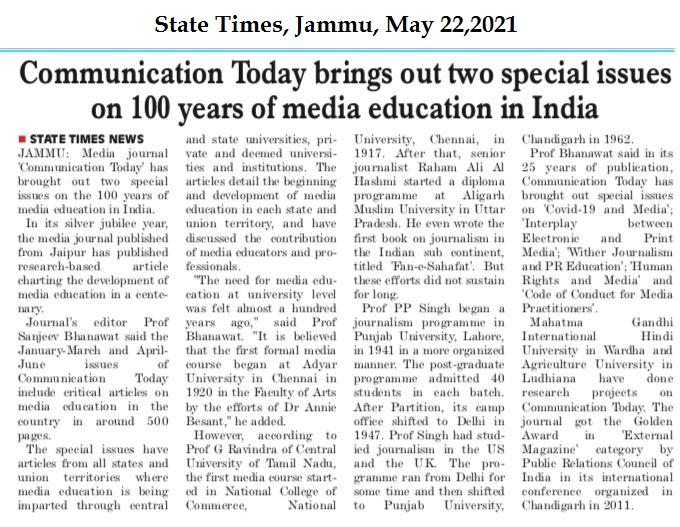 State Times, Jammu, May 22, 2021